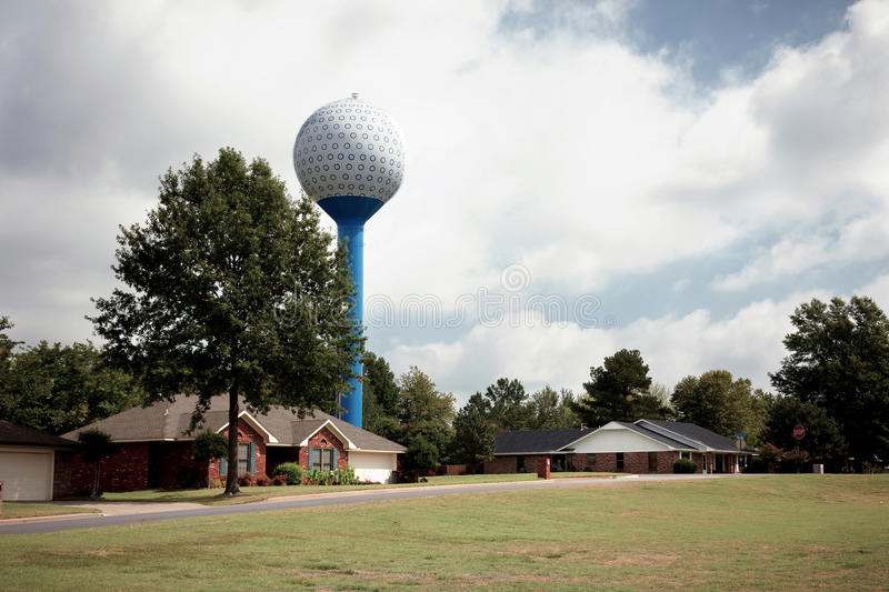 Home And Water Tank On Golf Course stock photography