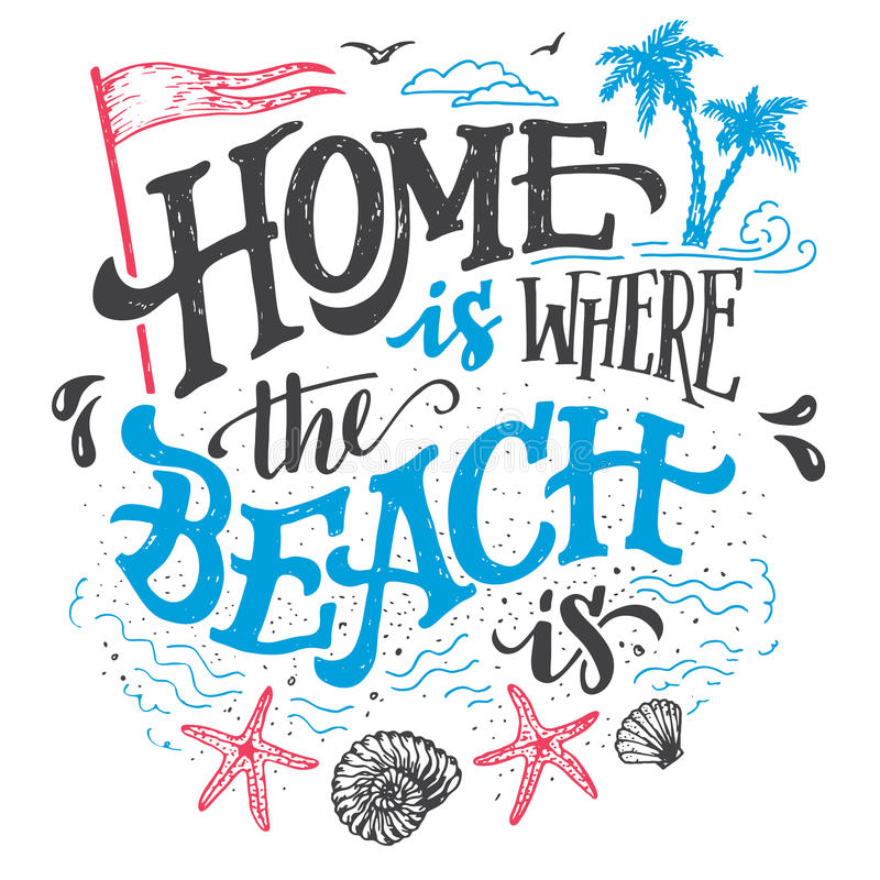 Vector Vintage Pop Art Beach Holiday Illustration Stock: Home Is Where The Beach Is Typography Illustration Stock