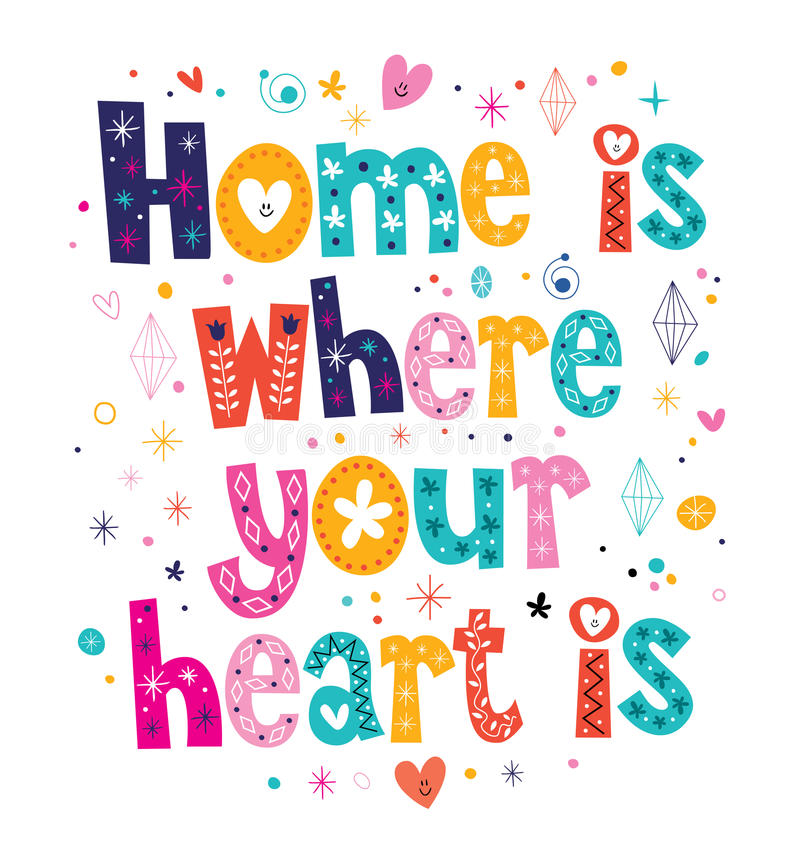 Home is where your heart is quote vector illustration