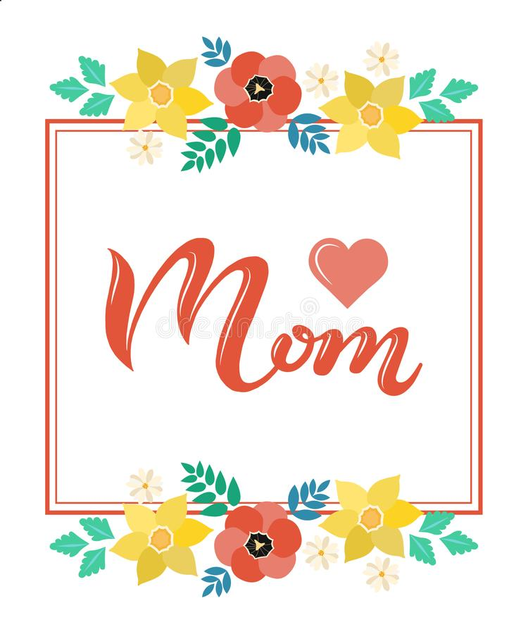 Home Is Where Your Mom Is In Frame Lettering Poster Stock Vector ...