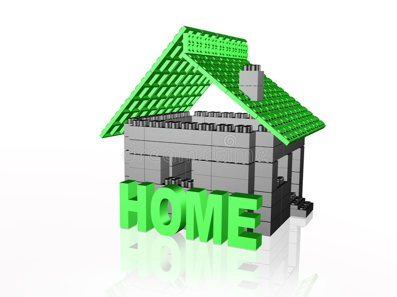 Home on white. Grey and green home on white reflective background royalty free illustration
