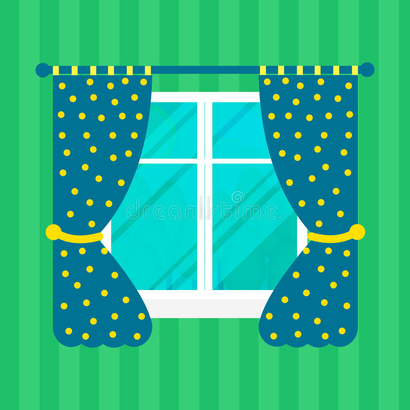 Home window with curtain, flat style vector illustration