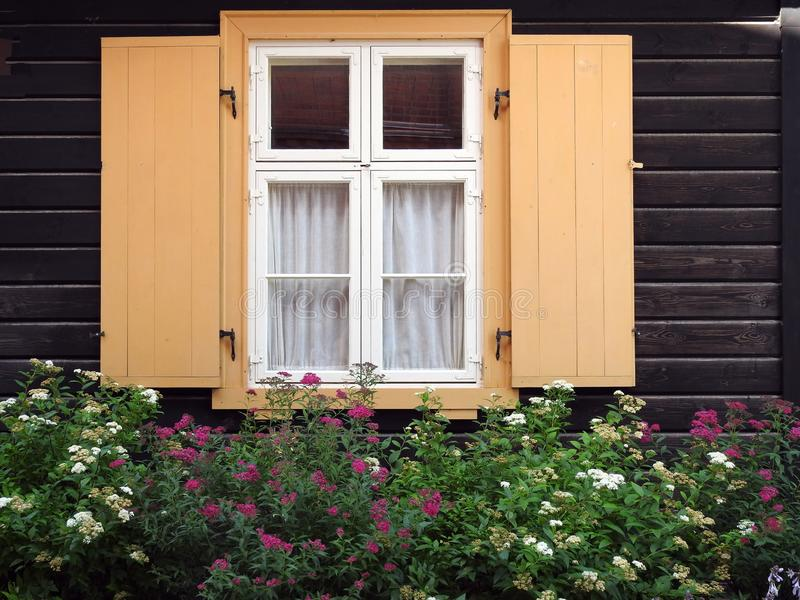Home window and flowers, Latvia stock images