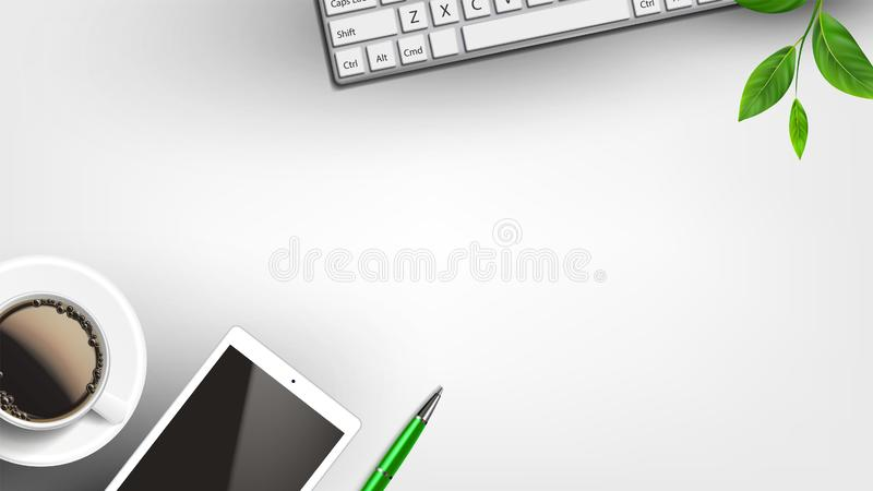 Home Working Place With Devices Flat Lay Vector. White Cup Of Coffee Near Tablet And Pen, Keypad And Green Leaves On Branch Of Home Tree On Home Desk. Copy vector illustration