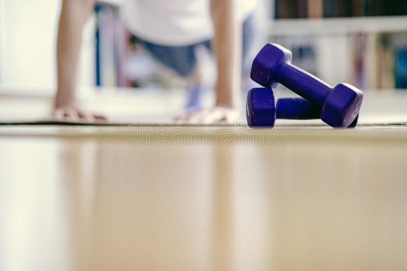 home workout stay home and healthy royalty free stock photography