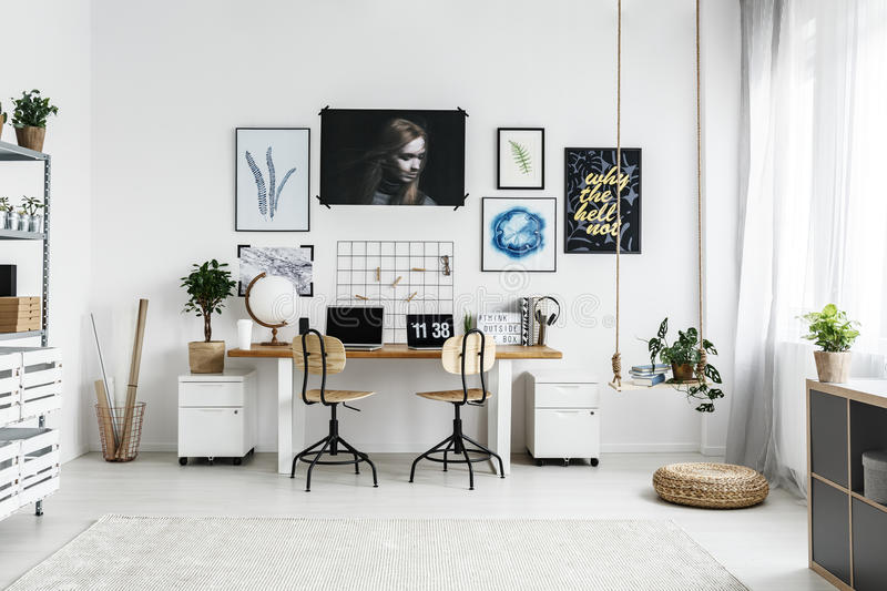 Home workplace for hipster royalty free stock photos