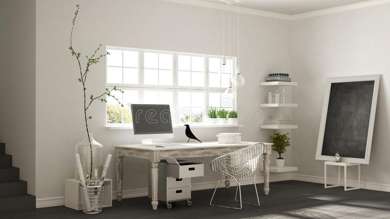 Home workplace, scandinavian house room corner office, classic m stock photos