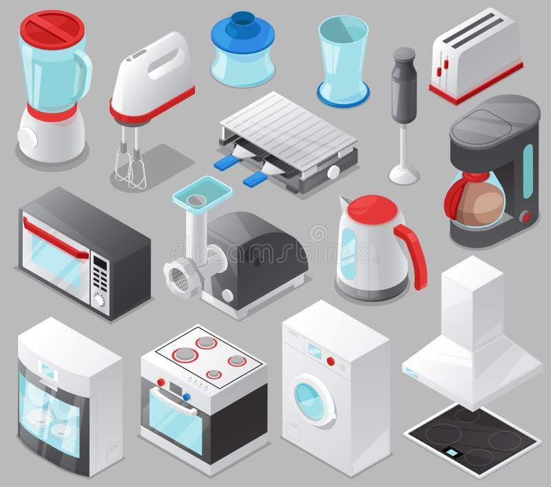 Homeappliance da cozinha do vetor dos aparelhos eletrodomésticos para fogão ou máquina de lavar ajustada da casa na loja elétrica ilustração do vetor