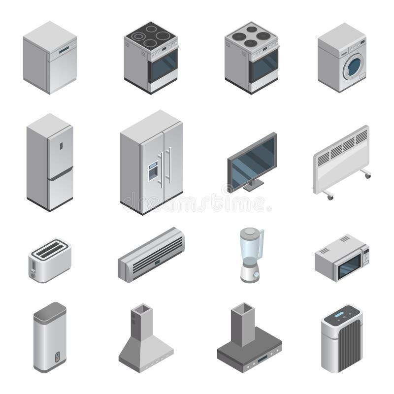 Homeappliance för kök för vektor för hushållanordningar för husuppsättningspis eller tvagningmaskin och mikrovåg in stock illustrationer