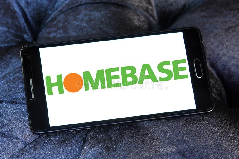 Homebase retailer logo. Logo of Homebase retailer on samsung mobile. Homebase is a British home improvement retailer and garden centre, with stores across the royalty free stock images