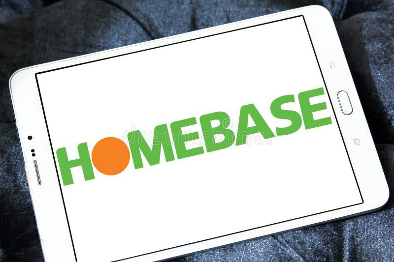 Homebase retailer logo. Logo of Homebase retailer on samsung tablet. Homebase is a British home improvement retailer and garden centre, with stores across the royalty free stock photo