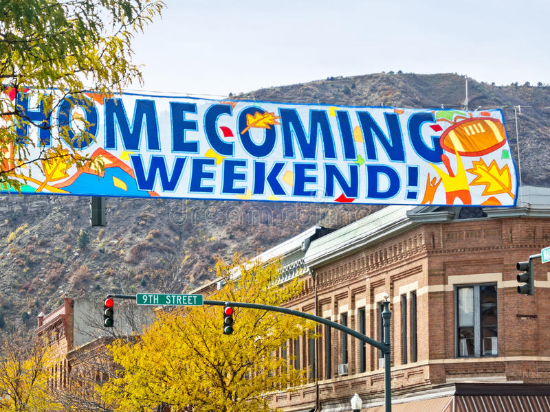 Homecoming Weekend. City center banner celebrates Homecoming stock image