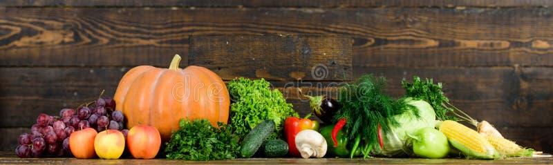 Homegrown λαχανικά Φρέσκα οργανικά λαχανικά στο σκοτεινό ξύλινο υπόβαθρο Έννοια καταστημάτων παντοπωλείων Συγκομιδή φθινοπώρου ορ στοκ φωτογραφίες