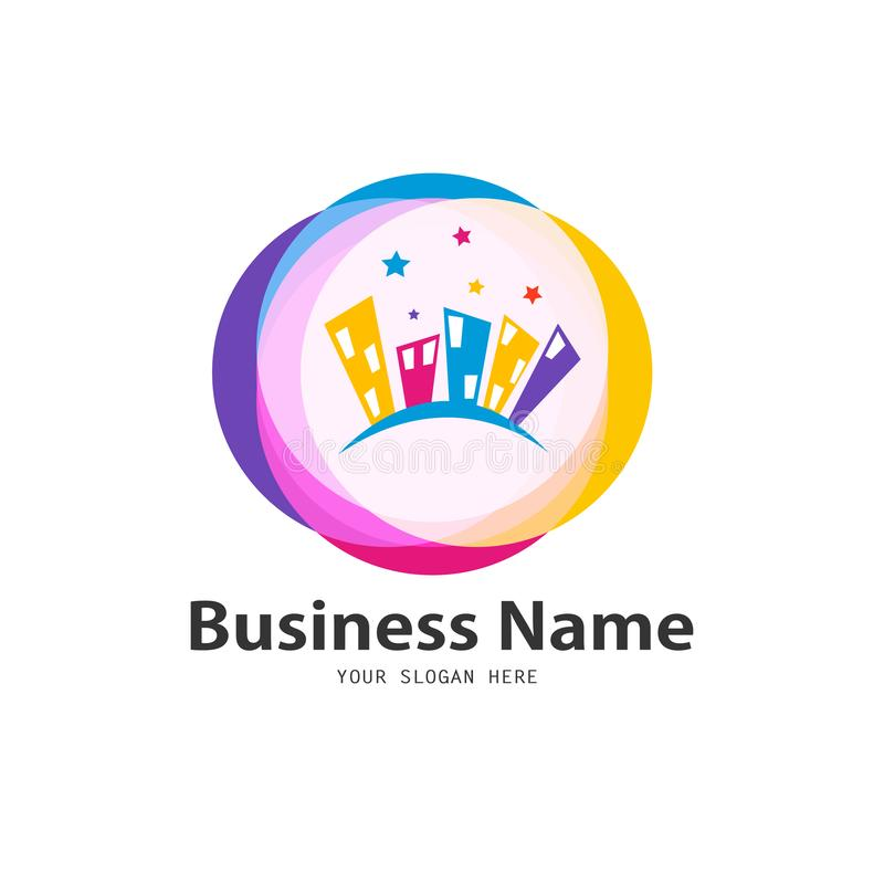 Colorful business home icon design stock illustration