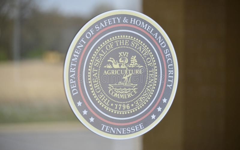 Homeland Security Seal. Department of Homeland Security Seal on a driver license testing facility building stock photography