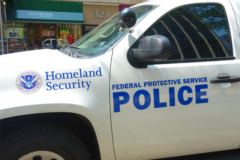 Homeland Security. A vehicle of the Federal Protective Service Police, in downtown Manhattan. The FPS is a law enforcement agency that is part of the Department stock images