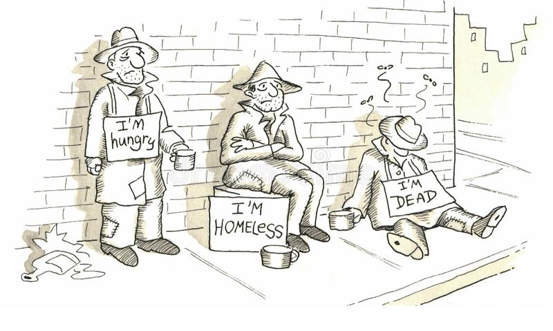Homeless. Various stages of homeless life stock illustration