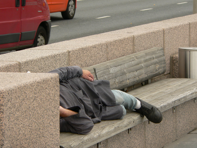 Homeless. Sleep on the street stock photography