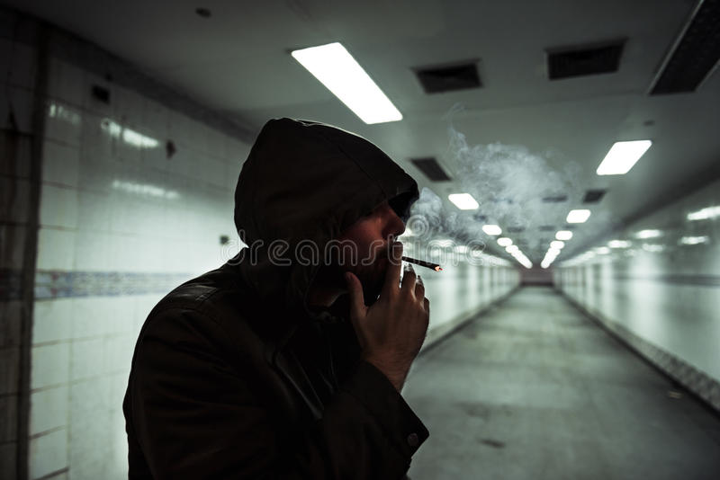 Homeless Adult Woman Smoking Cigarette Addiction stock image