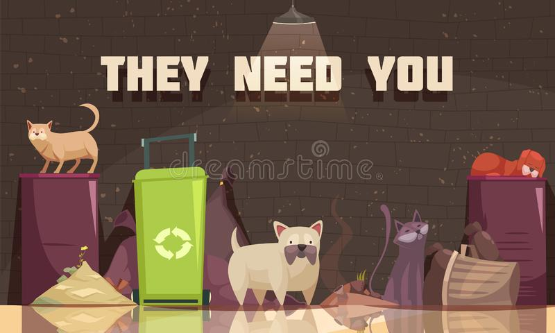 Homeless Animals Flat Poster. Homeless animals poster with cats near trash containers and they need you headline flat vector illustration stock illustration
