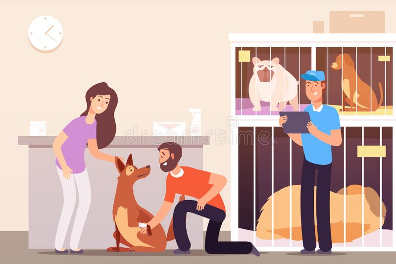 Homeless animals. People in shelter with pet cats and dogs in cages. Vector concept. Pet homeless, dog help and care illustration vector illustration