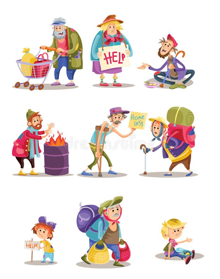 Homeless and beggars people vector cartoon illustration of woman, man and child begging for money and food stock illustration
