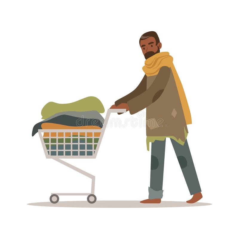 Homeless black man character pushing shopping cart with his possessions, unemployment male beggar needing help vector. Illustration isolated on a white vector illustration