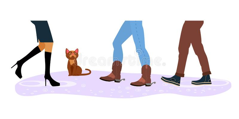 Homeless cat between men and women feet. Legs of people group walking in autumn shoes. Flat design homeless cat between men and women feet on rain background stock illustration