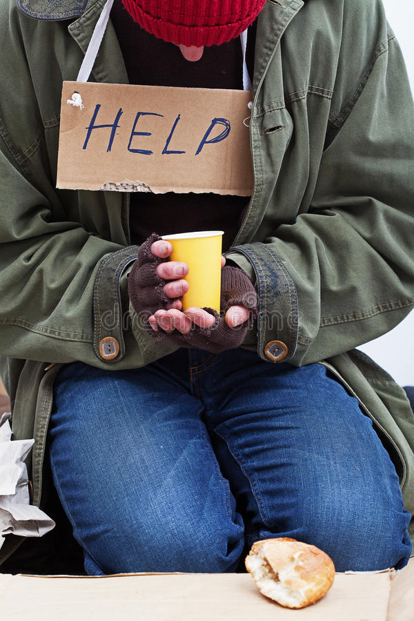 Homeless with a cup of tea royalty free stock photography