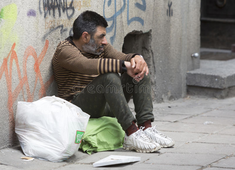 Homeless desperate beggar begging stock photos