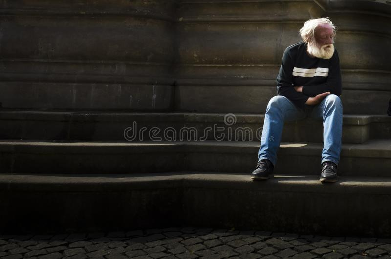 Download Homeless Elder Man Sitting Alone On Steps Editorial Photo - Image of sitting, lone: 108620796