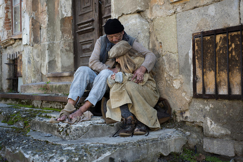 Homeless family. Is in very sad situation royalty free stock photos