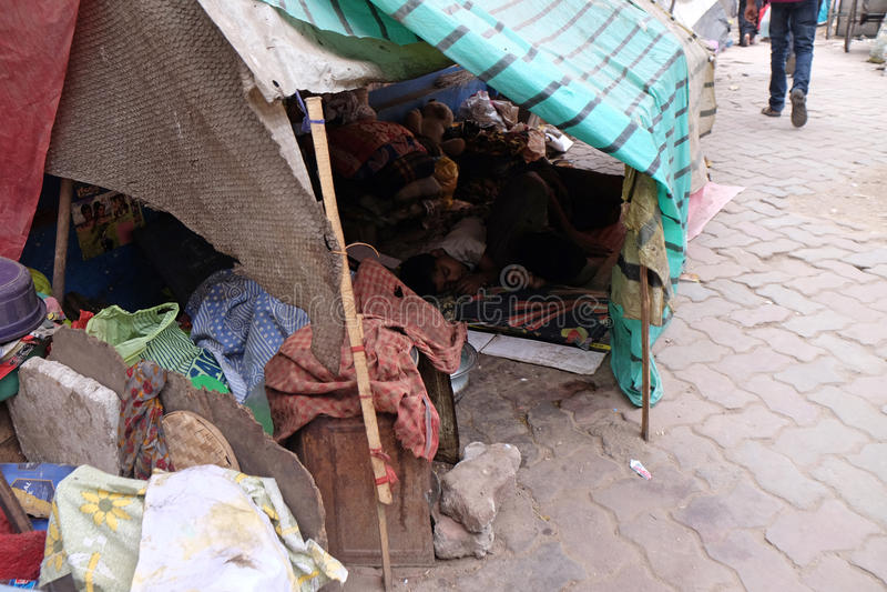 Homeless family living on the streets of Kolkata. India royalty free stock photos