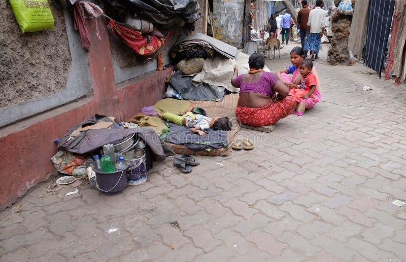 Homeless family living on the streets of Kolkata. India royalty free stock photography