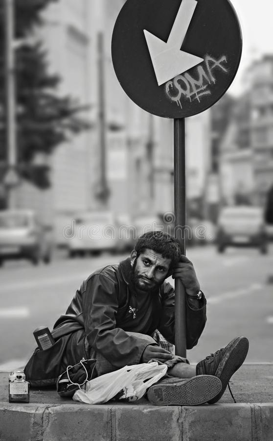 Homeless Sad Man on Bucharest streets stock photos