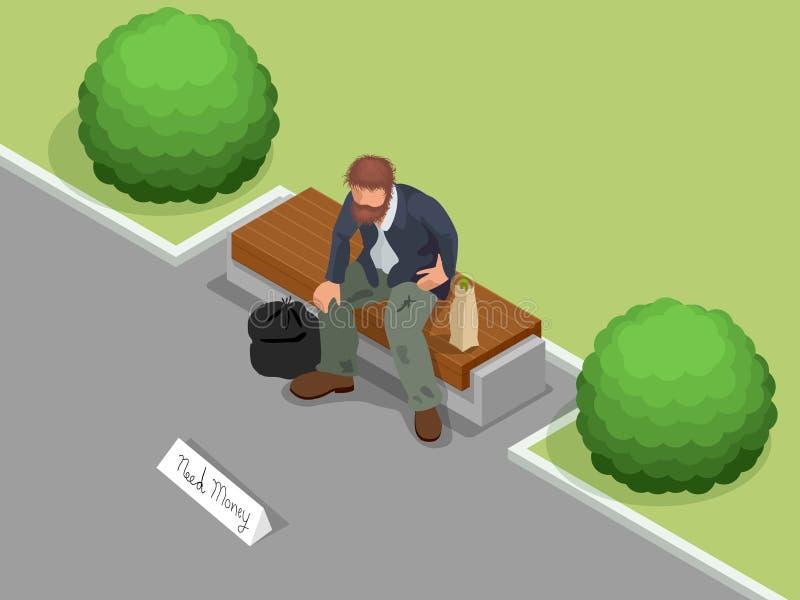 homeless Homme sans abri sale tenant le signe demandant l'aide Illustration isométrique plate du vecteur 3d Concept social de pro illustration de vecteur