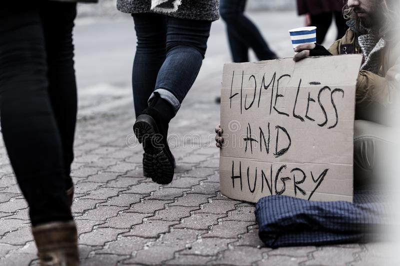 Homeless and hungry pauper royalty free stock photography