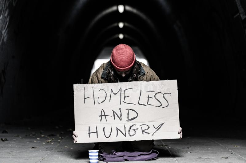 Homeless and hungry person begging royalty free stock photography