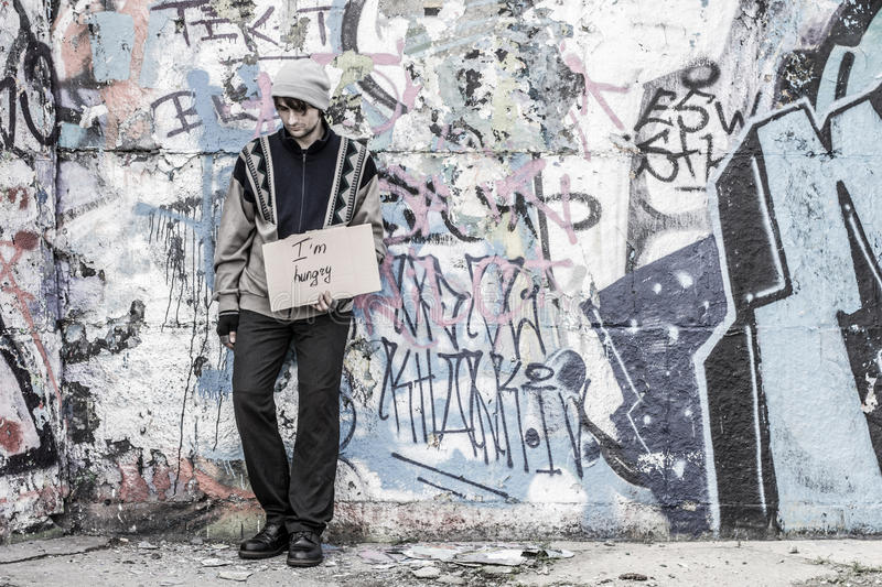 Homeless hungry poor man royalty free stock photo