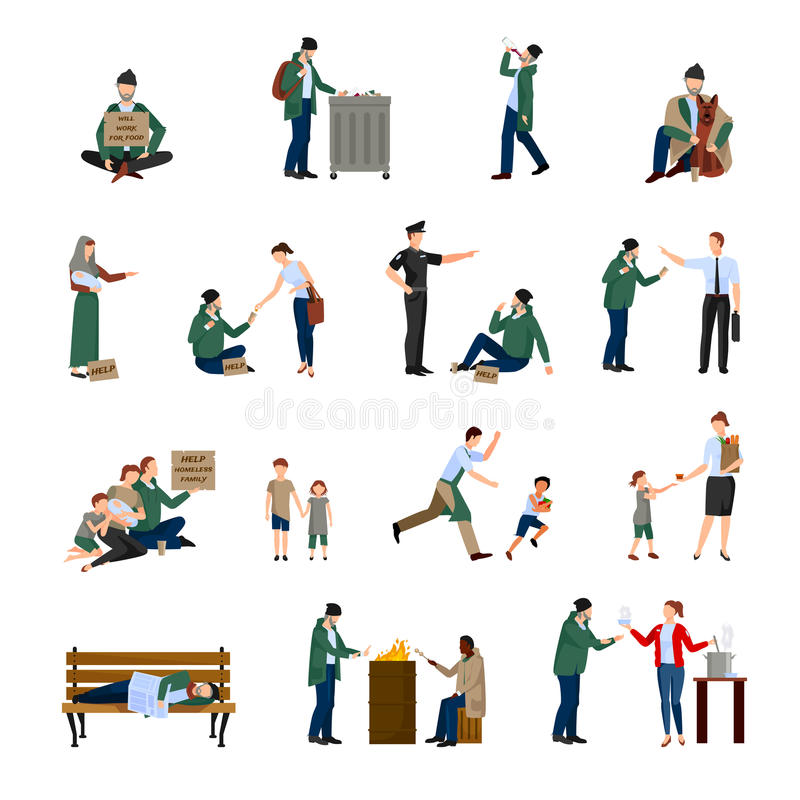 Homeless Icons Set vector illustration