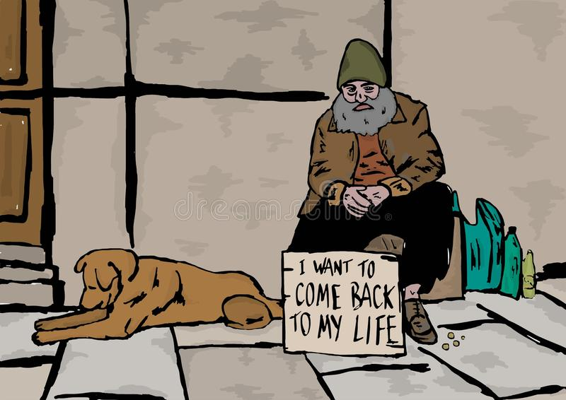 Homeless. Image of a homeless with his dog