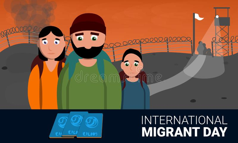 Homeless international migrant day concept banner, cartoon style vector illustration