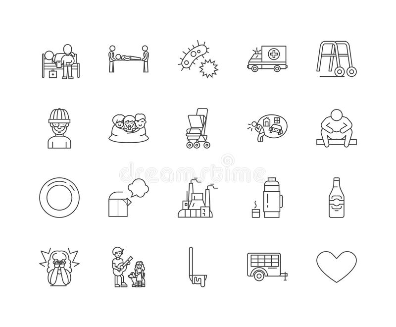 Homeless line icons, signs, vector set, outline illustration concept royalty free illustration