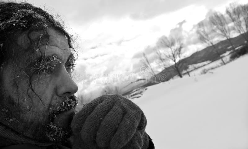 Homeless man b/w portrait royalty free stock photography