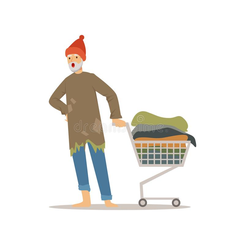 Homeless man character pushing shopping cart with his possessions, unemployment male beggar needing help vector. Illustration isolated on a white background royalty free illustration