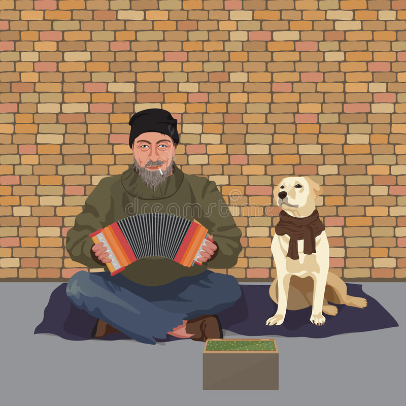 Homeless man with Dog. Shaggy man in dirty rags playing the accordion harmony. Asking for help. Vector illustration. Homeless man with Dog. Shaggy man in dirty royalty free illustration