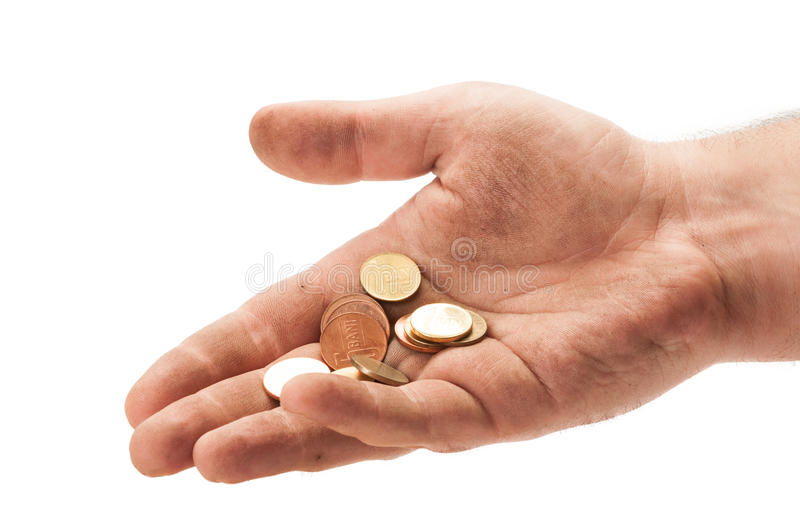 Homeless man hand with some change. Dirty homeless man hand with some change. Beggar hand concept on white background stock photography