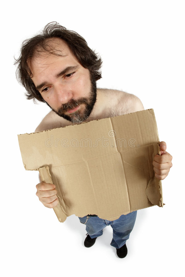 Homeless Man Holding Sign Royalty Free Stock Photos