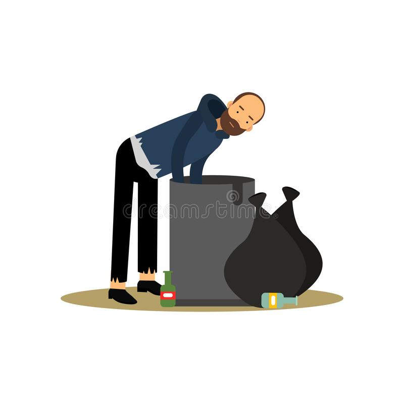 Homeless man looking for food in a trash can, unemployment male needing for help cartoon vector illustration royalty free illustration