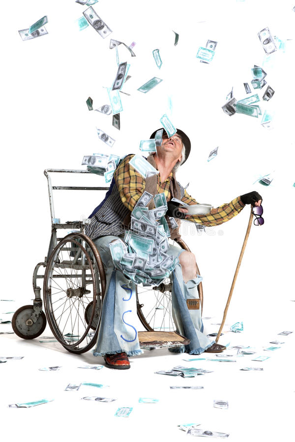Homeless man with a lot of money. Homeless man with a wheelchair with a lot of money on a white background stock photos